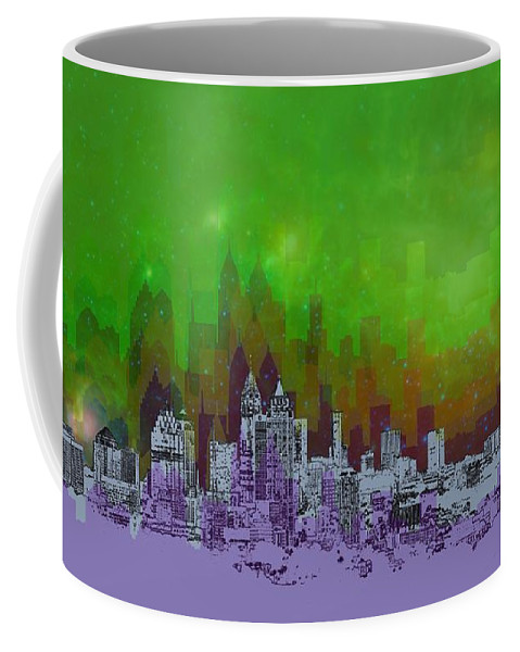 Atlanta Coffee Mug featuring the digital art Atlanta Skyline 4 by Alberto RuiZ