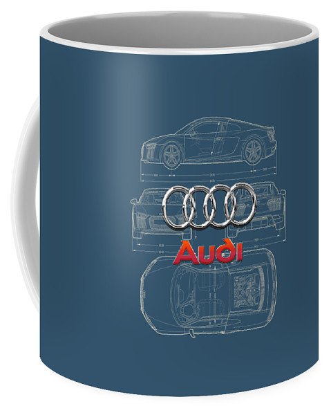 �wheels Of Fortune� Collection By Serge Averbukh Coffee Mug featuring the photograph Audi 3 D Badge over 2016 Audi R 8 Blueprint by Serge Averbukh