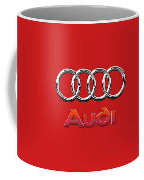 Wheels Of Fortune By Serge Averbukh Coffee Mug featuring the photograph Audi - 3D Badge on Red by Serge Averbukh
