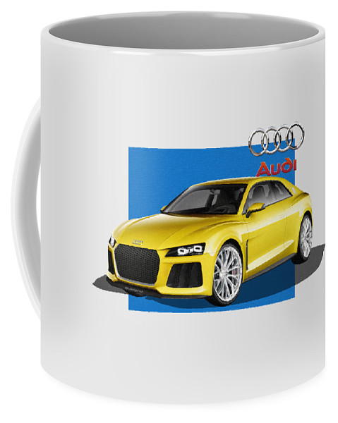 �audi� Collection By Serge Averbukh Coffee Mug featuring the photograph Audi Sport Quattro Concept with 3 D Badge by Serge Averbukh