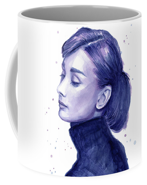 Watercolor Coffee Mug featuring the painting Audrey Hepburn Portrait by Olga Shvartsur