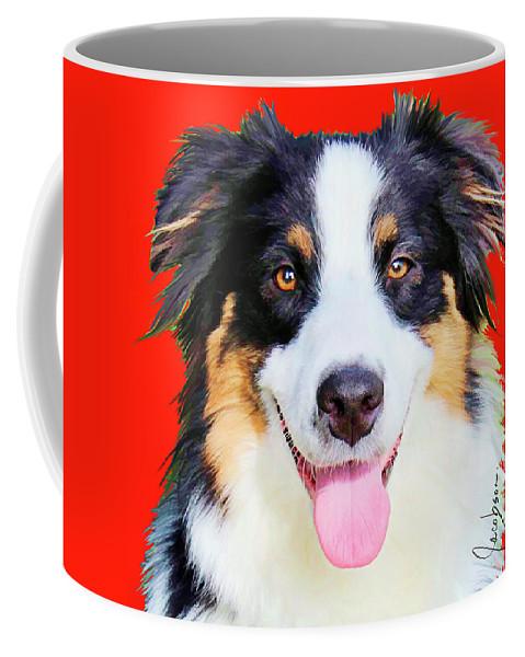 Australian Shepherd Coffee Mug featuring the mixed media Australian Shepherd 4 by Jackie Jacobson