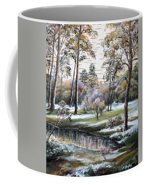 Nature Coffee Mug featuring the painting Autumnal Time. by Maya Bukhina