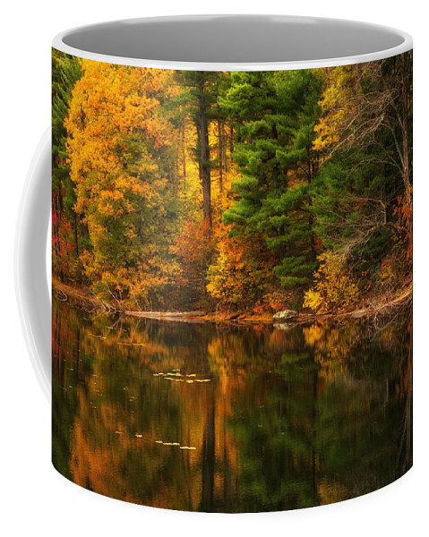 Autumns Calm Coffee Mug featuring the photograph Autumns Calm by Karol Livote