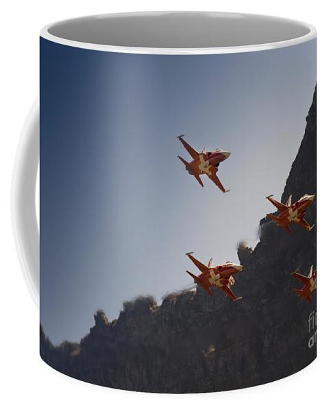 Patrouille Suisse Coffee Mug featuring the photograph Axalp by Angel Ciesniarska