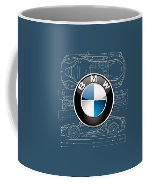 �wheels Of Fortune� By Serge Averbukh Coffee Mug featuring the photograph B M W 3 D Badge Over B M W I8 Blueprint by Serge Averbukh