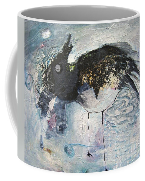 Robin Painting Coffee Mug featuring the painting Baby Robin by Seon-Jeong Kim