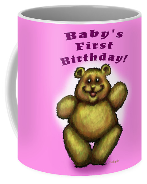 Baby Coffee Mug featuring the greeting card Babys First Birthday by Kevin Middleton