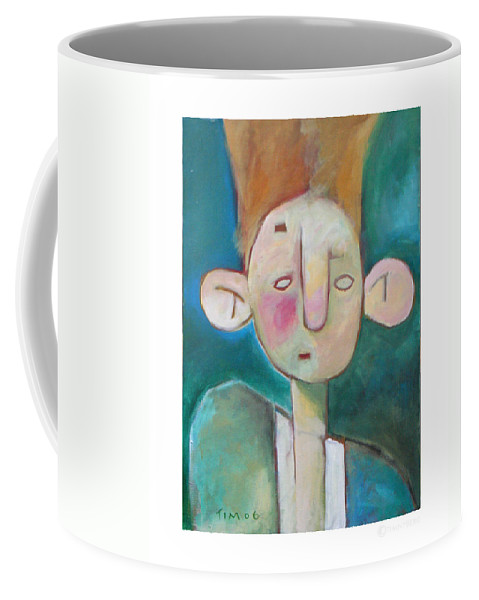 Funny Coffee Mug featuring the painting Bad Hair Life by Tim Nyberg