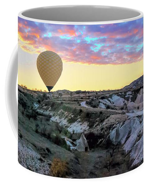 Ballooning At Sunrise Coffee Mug featuring the photograph Ballooning At Sunrise No 2 by Phyllis Taylor