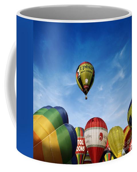 Balloon Fiesta Coffee Mug featuring the photograph Balloons by Angel Ciesniarska