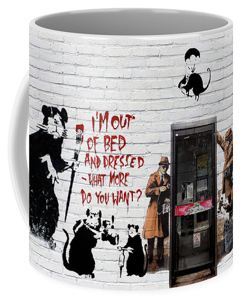 �urban Graffiti� Collection By Serge Averbukh Coffee Mug featuring the photograph Banksy - The Tribute - Rats by Serge Averbukh