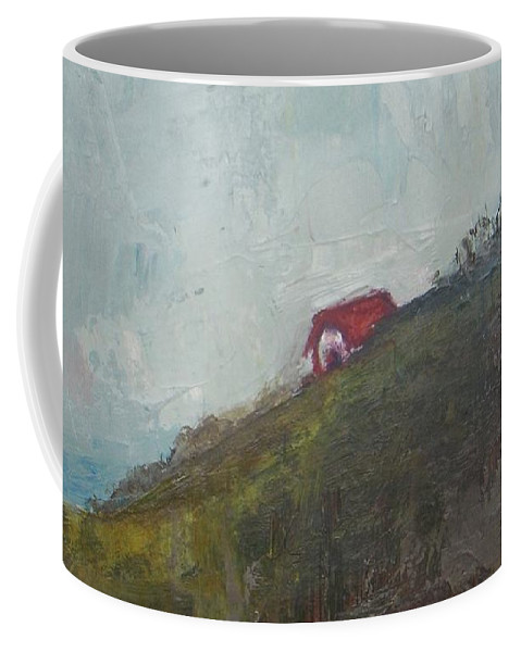 Barn Coffee Mug featuring the painting Barn On The Hill by Vesna Antic