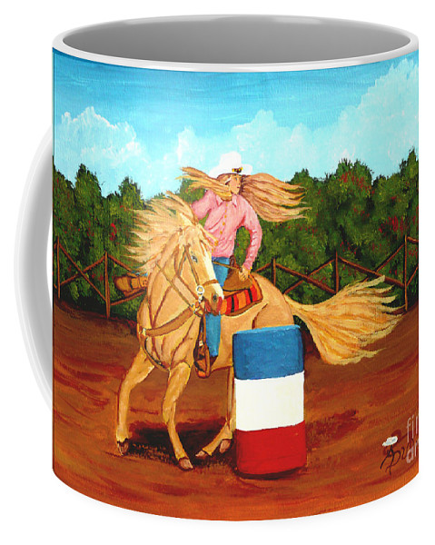Rodeo Coffee Mug featuring the painting Barrel Racer by Anthony Dunphy