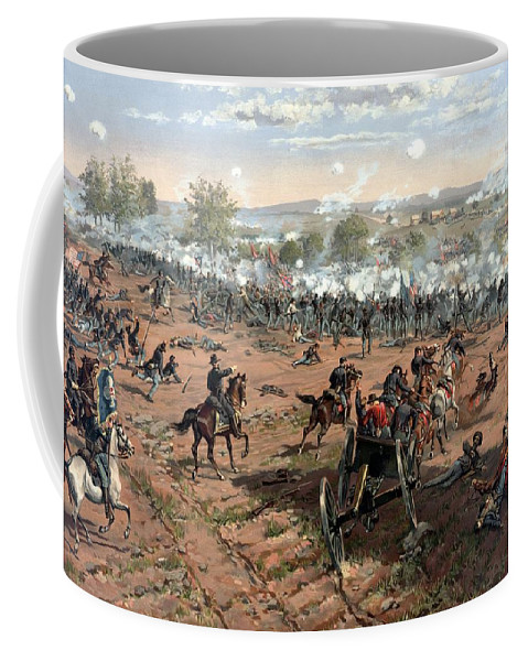 Civil War Coffee Mug featuring the painting Battle Of Gettysburg 4 by War Is Hell Store