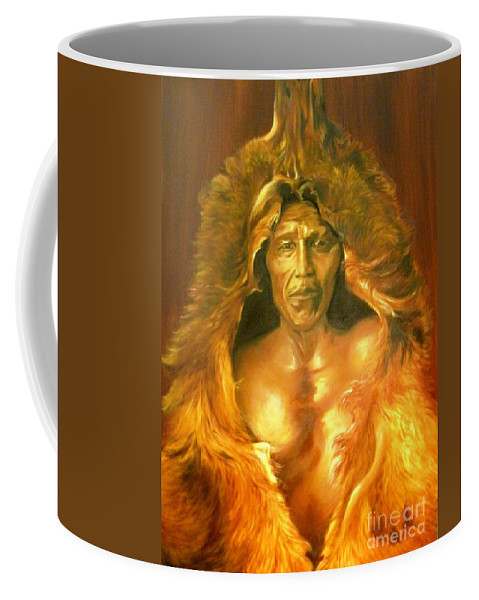 Native American Coffee Mug featuring the painting Bear's Belly by Annalise Kucan