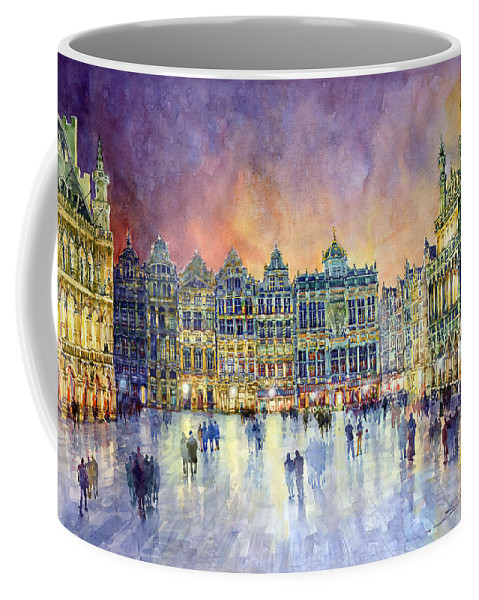 Watercolor Coffee Mug featuring the painting Belgium Brussel Grand Place Grote Markt by Yuriy Shevchuk
