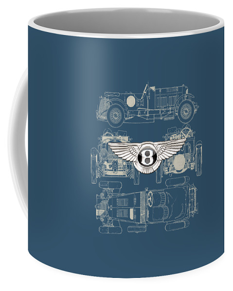 �wheels Of Fortune� By Serge Averbukh Coffee Mug featuring the photograph Bentley - 3 D Badge over 1930 Bentley 4.5 Liter Blower Vintage Blueprint by Serge Averbukh