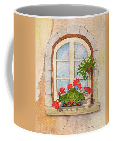 Window Coffee Mug featuring the painting Biding Time by Mary Ellen Mueller Legault