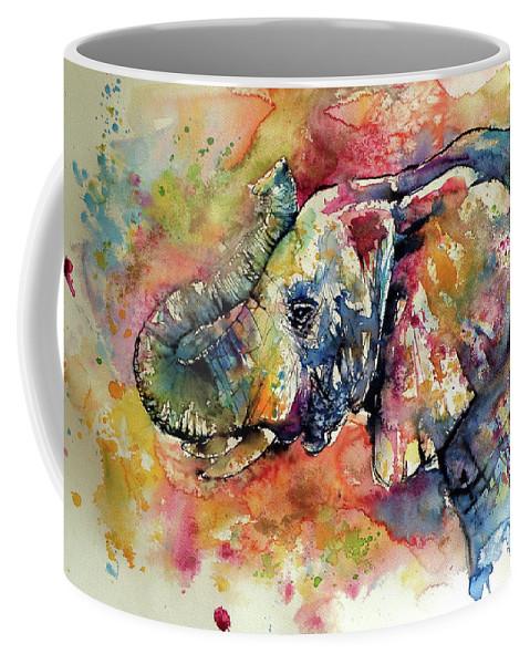 Elephant Coffee Mug featuring the painting Big colorful elephant by Kovacs Anna Brigitta