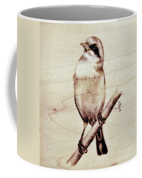 Bird Coffee Mug featuring the pyrography Bird by Ilaria Andreucci