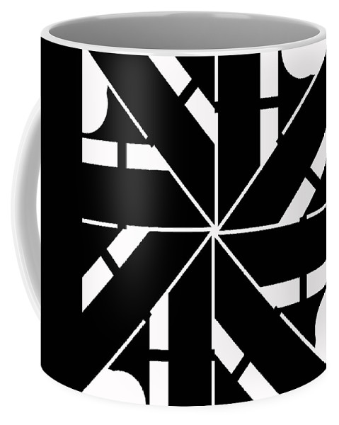Geometric Coffee Mug featuring the digital art Black And White Geometric by David G Paul
