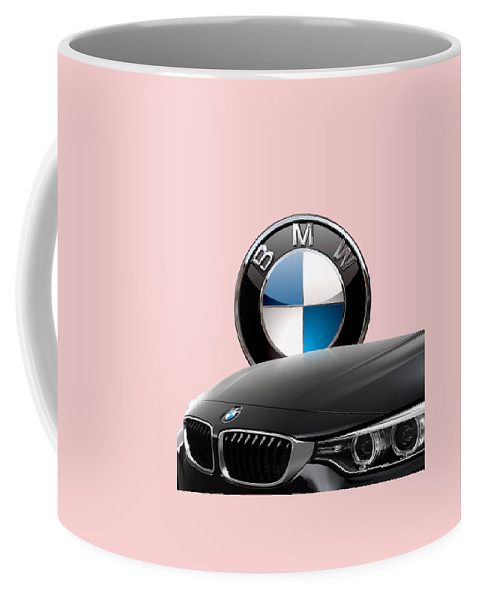 �auto Badges� Collection By Serge Averbukh Coffee Mug featuring the photograph Black B M W - Front Grill Ornament And 3 D Badge On Red by Serge Averbukh