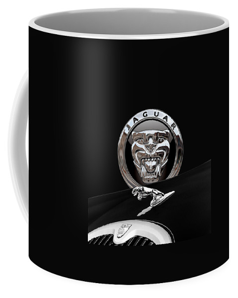 'auto Badges' Collection By Serge Averbukh Coffee Mug featuring the photograph Black Jaguar - Hood Ornaments And 3 D Badge On Red by Serge Averbukh
