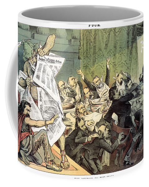 1884 Coffee Mug featuring the photograph Blaine Cartoon, 1884 by Granger