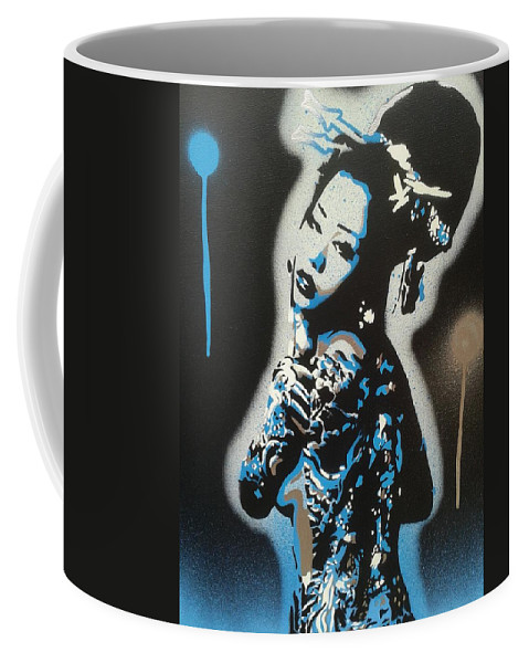 Blue Coffee Mug featuring the painting Blue Geisha by Leon Keay