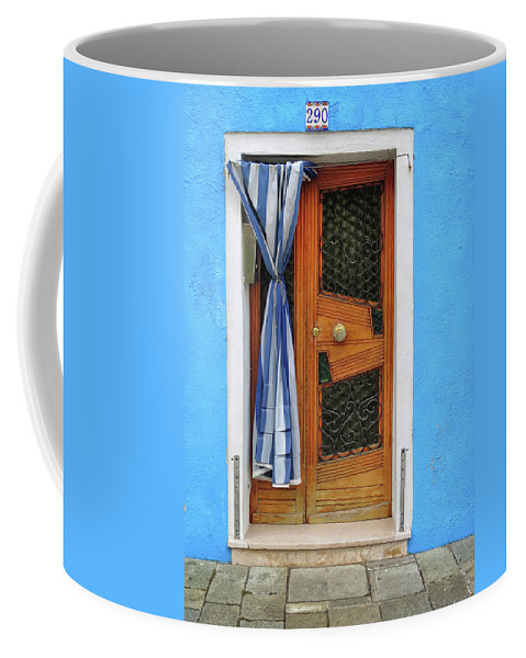 Burano Coffee Mug featuring the photograph Blue In Burano by Dave Mills