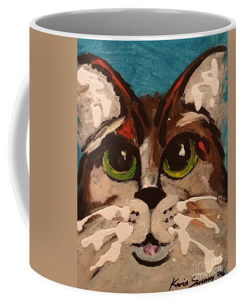 Cat Coffee Mug featuring the painting Blue by Kevin Sweeney