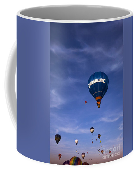 Balloon Fiesta Coffee Mug featuring the photograph Blue Skies by Angel Ciesniarska