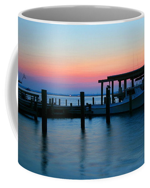 Chincoteague Coffee Mug featuring the photograph Boats At Sunset by Amy Jackson
