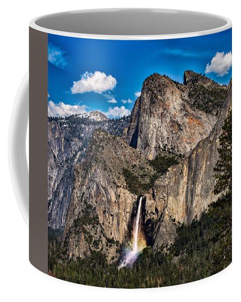 Cathedral Rocks Coffee Mug featuring the photograph Bridalveil Falls Rainbow #2 by C Renee Martin