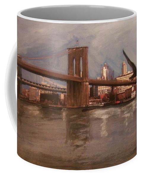 Brooklyn Bridge Coffee Mug featuring the painting Brooklyn Bridge by Anita Burgermeister