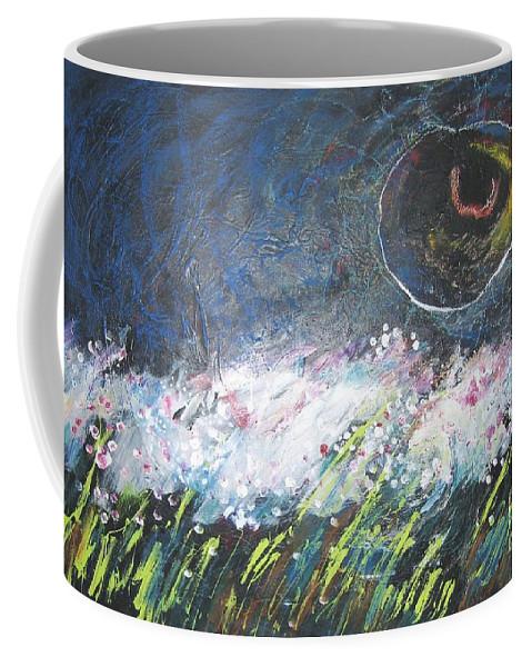 Aabstract Paintings Coffee Mug featuring the painting Buckwheat Field by Seon-Jeong Kim