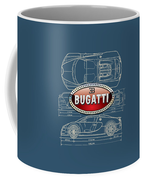 �wheels Of Fortune� By Serge Averbukh Coffee Mug featuring the photograph Bugatti 3 D Badge over Bugatti Veyron Grand Sport Blueprint by Serge Averbukh