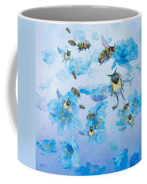 Bees Coffee Mug featuring the painting Bumble Bees by Jan Matson