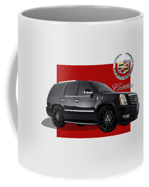 �cadillac� By Serge Averbukh Coffee Mug featuring the photograph Cadillac Escalade with 3 D Badge by Serge Averbukh