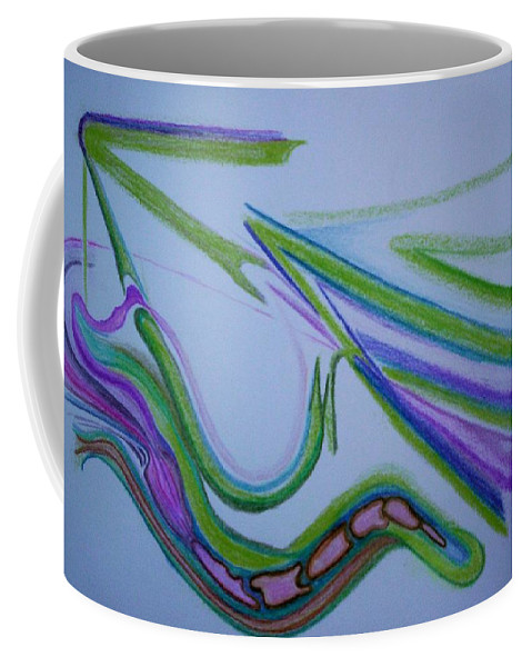 Abstract Coffee Mug featuring the drawing Canal by Suzanne Udell Levinger