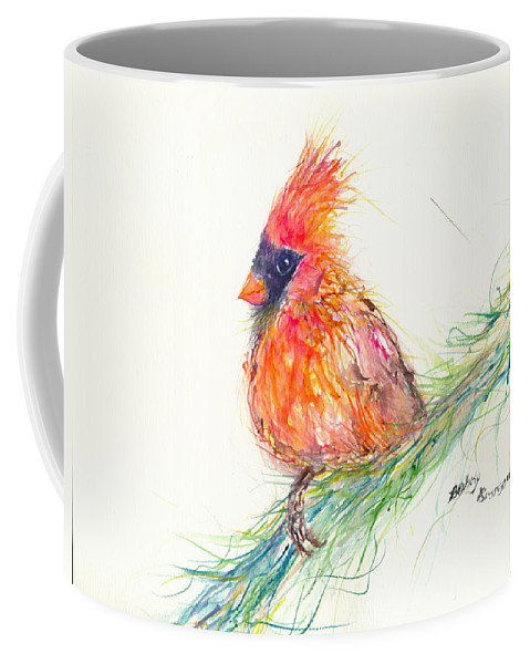 Cardinal Coffee Mug featuring the painting Cardinal On Branch by Beverly Bronson