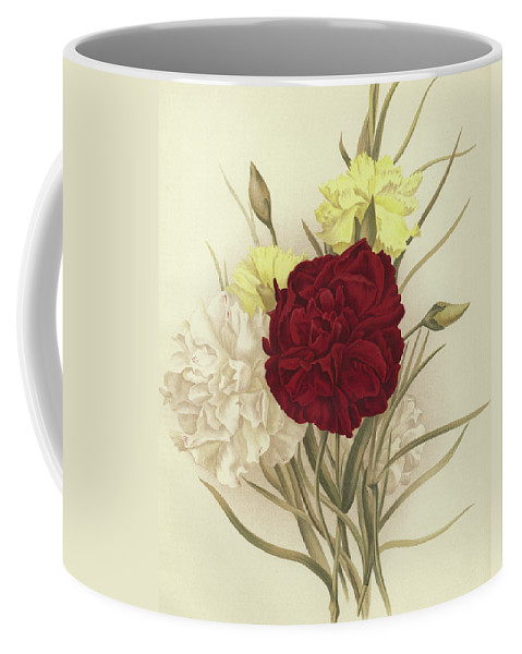 Still-life Coffee Mug featuring the painting Carnations by English School