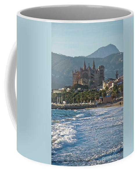 Laseu Coffee Mug featuring the photograph Cathedral And City Beach With People by Ingela Christina Rahm
