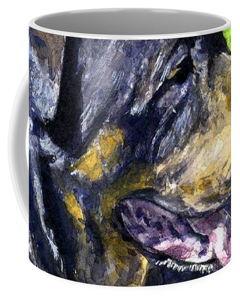 Rottweiler Coffee Mug featuring the painting Chaos by John D Benson
