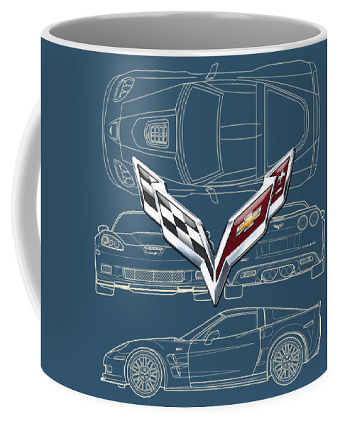 �wheels Of Fortune� By Serge Averbukh Coffee Mug featuring the photograph Chevrolet Corvette 3 D Badge Over Corvette C 6 Z R 1 Blueprint by Serge Averbukh