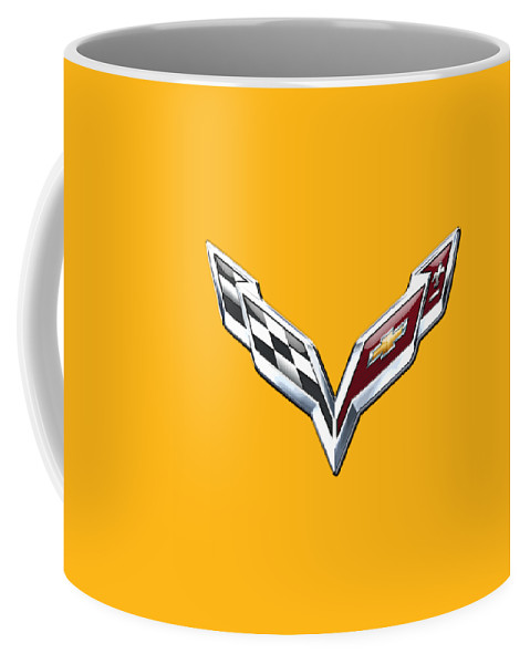 �wheels Of Fortune� Collection By Serge Averbukh Coffee Mug featuring the photograph Chevrolet Corvette 3D Badge on Yellow by Serge Averbukh