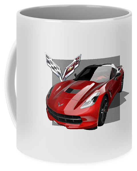 �chevrolet Corvette� By Serge Averbukh Coffee Mug featuring the photograph Chevrolet Corvette C 7 Stingray with 3 D Badge by Serge Averbukh