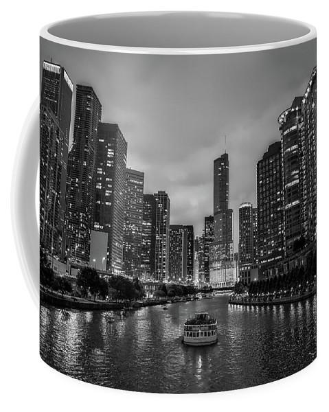 Chicago Coffee Mug featuring the photograph Chicago River Sunset by Roman Arkipov