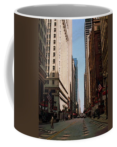Chicago Coffee Mug featuring the digital art Chicago Street With Flags by Anita Burgermeister